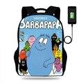 Мультфильм Barbapapa школьный рюкзак для девочек рюкзаки школьные рюкзаки для мальчиков ранец для детей ортопедический mochila escolar Usb зарядка Книг...