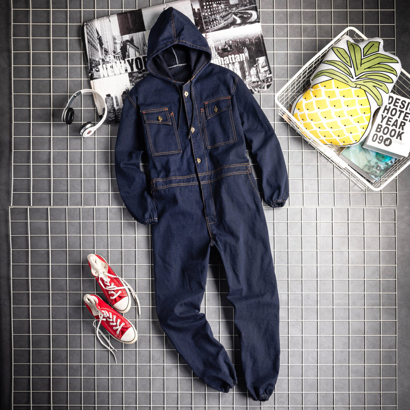 Male Hooded Jacket And Pants Long Sleeve Denim Overalls Mens Cargo Jeans Jump Suits Men Retro One Piece Denim Jumpsuit