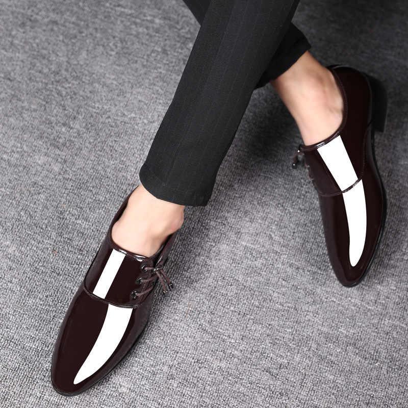 الرجال براءات أحذية من الجلد الرجال الفاخرة الكلاسيكية الأعمال الزفاف مكتب أحذية رسمية أنيقة Zapatos Altos دي Hombre