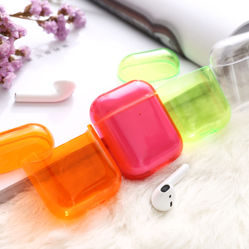 Solid Color Wireless Earphone Cover Bag For Apple AirPods 1 2 Colorful Hard PC Bluetooth Charging Box Headset Clear Case Sleeve