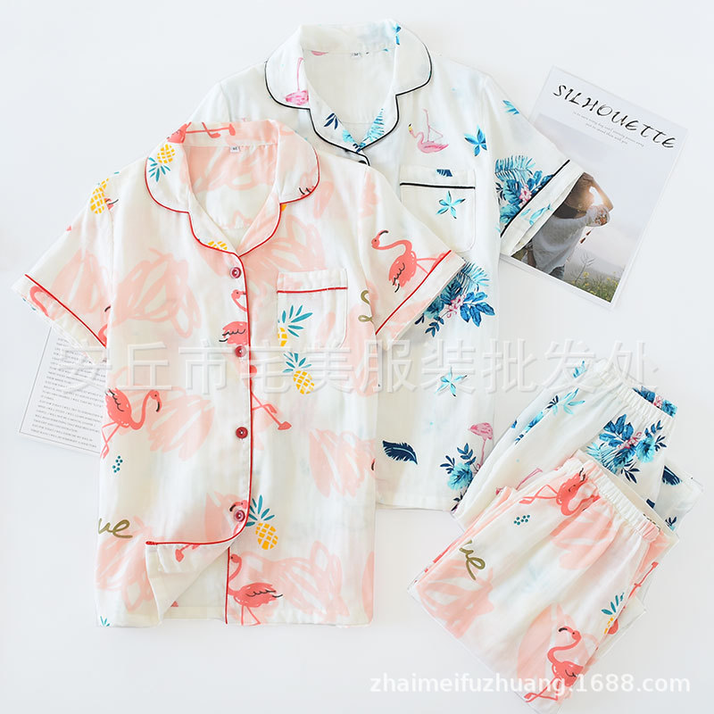 Manufacturers Direct Selling Spring And Autumn Pajamas Summer New Products Pure Cotton Gauze WOMEN'S Pajamas And Leisure Wear Tw