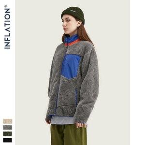 Image 2 - INFLATION Men Berber Fleece Winter Jacket Coat 2020 High Street Loose Fit Poler Fleece Men Coat High Collar Men Jacket 9744W