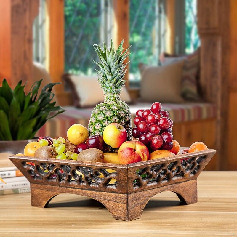 Chinês moderno sala personalidade criativa casa prato de frutas de madeira maciça estilo Chinês retro WF8171010
