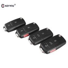 KEYYOU 20pcs/lot Folding Car Remote Flip Key Shell Case Fob For Vw Jetta Golf Passat Beetle Polo Bora MK4 Seat Altea Skoda