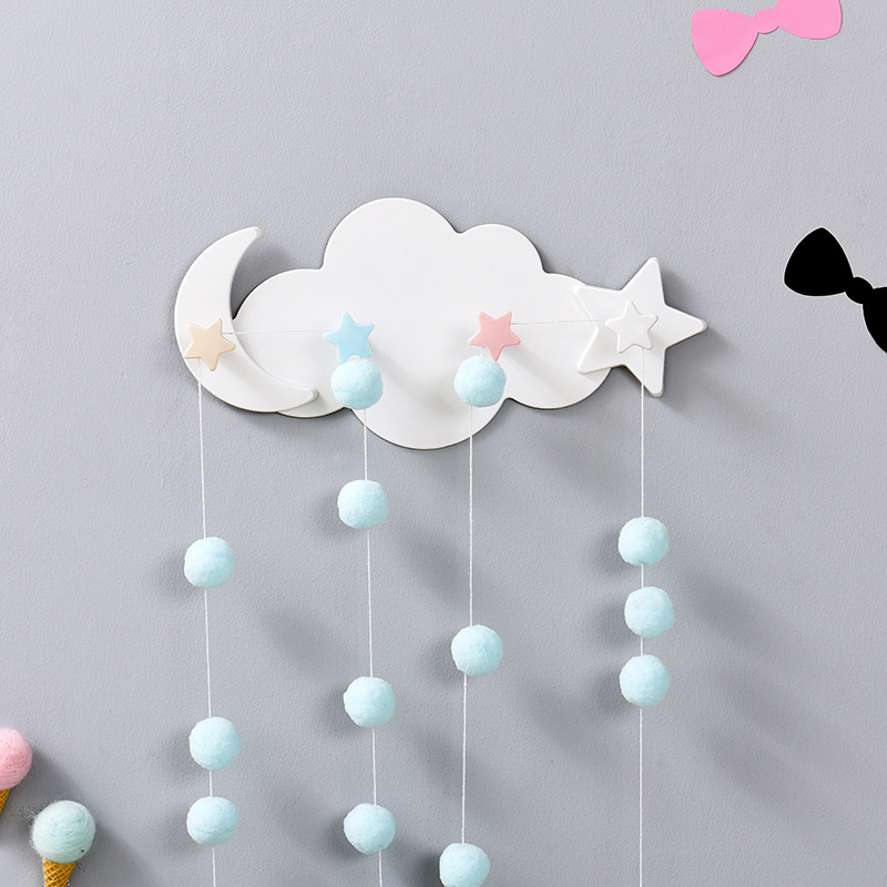 Cloud Cartoon Viscose Wall Key Holder Creative Hanger Keys Household Storage Products Non-Mark Strong Adhesive Wall Hook