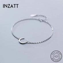 INZATT Real 925 Sterling Silver Minimalist MoonBracelet For Fashion Women Party Trendy Fine Jewelry Chain Cute Accessories Gift