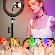 20cm 26cm led selfie ring light with phone camera holder photography lighting with tripod remote control for photo video youtube Photography RGB LED Selfie Ring Light USB Plug 20cm/26cm Make Lamp Ring With Tripod Phone Holder For Live Stream Youtube Video