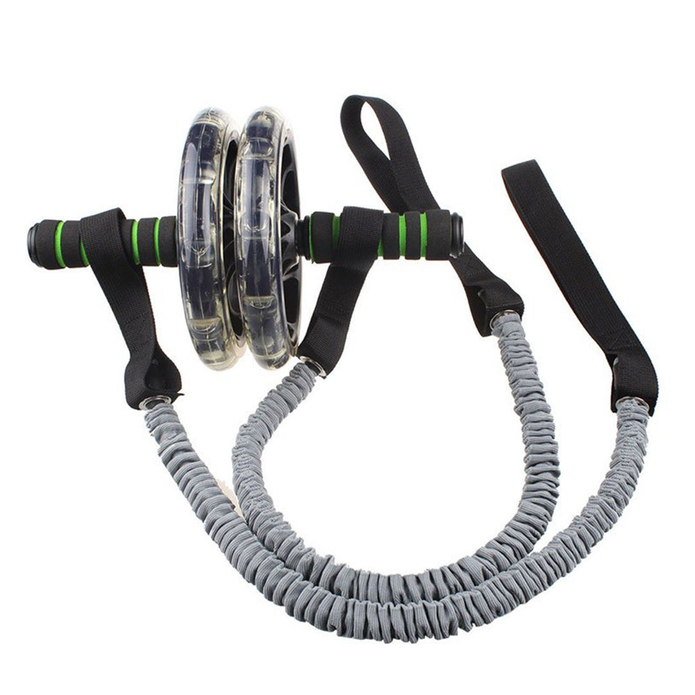 1 Pair Wheel Gym Pull Trainer Accessories Abdominal Resistance Band Fitness Slimming Roller Sports Rope Exercise Elastic Stretch