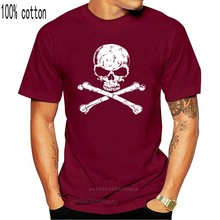 Camisa de algodão do caribe do pirata do crânio e dos ossos da cruz dos homens do velocitee camiseta homme personalizado