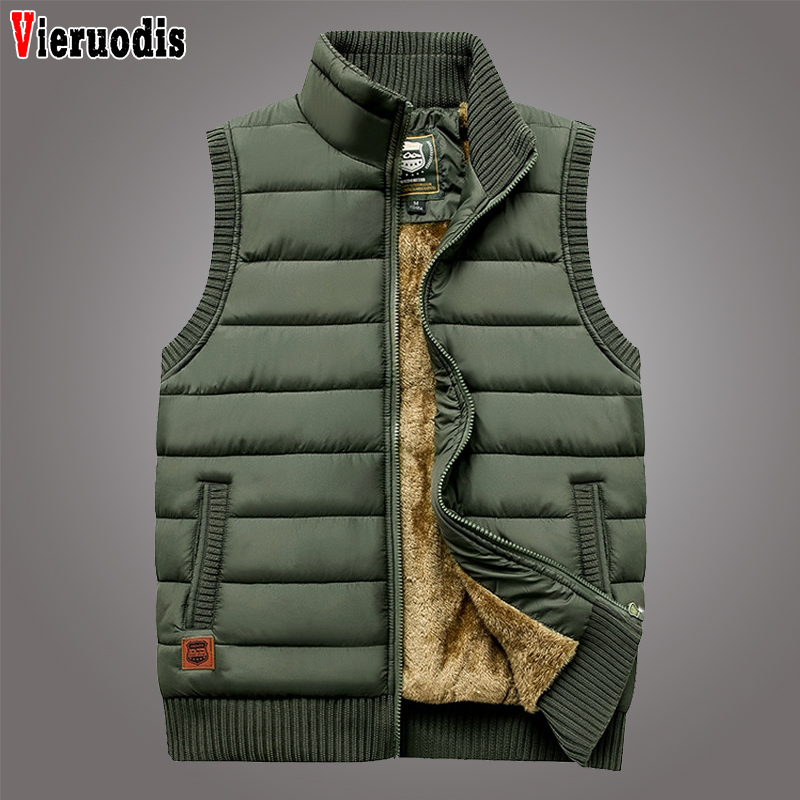 Men Newest 2019 Casual Vest Coat Fleece Army Green Waistcoat Large Size 5XL Autumn Winter Men Coat Warm Sleeveless Jacket