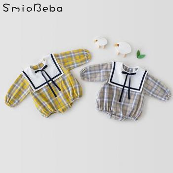 Jesień 2021 koreańska krata granatowy kołnierzyk Romper dziewczynek sukienka ładny jeden strój wspinaczkowy Bebek Tulum Pajacyki Dla Niemowlat kombinezony tanie i dobre opinie Smiobeba COTTON CN (pochodzenie) Wiosna i jesień dla dziewczynek W wieku 0-6m 7-12m 13-24m 25-36m Plaid baby Wykładany kołnierzyk