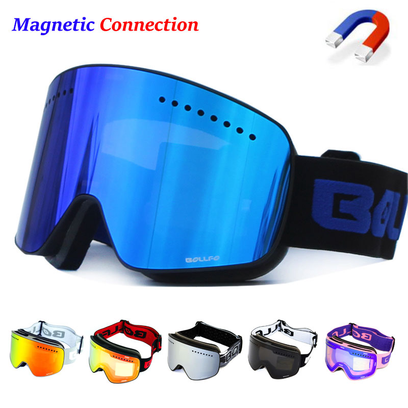Magnetic Double Layer Polarized Lens Ski Goggles Skiing Anti-fog UV400 Snowboard Goggles Men Women Ski Glasses Eyewear