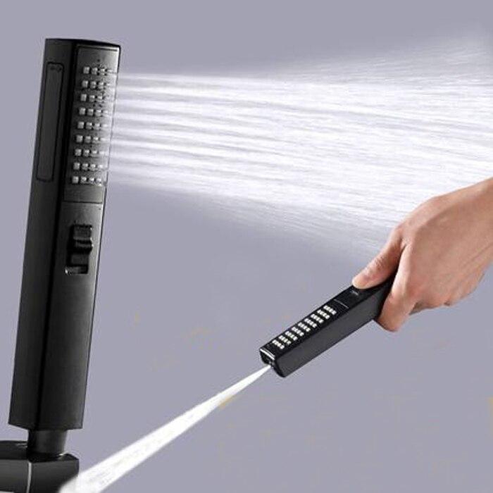 Black Bidet Sprayer Shower Head Removable Hand Held Rainfall Spray Shower Head Set For Bathroom Matte Black TH478