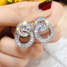 S925 Silver Needle Zircon Geometric Double Circular Earrings Temperament Simple Flash Fashion Circle Female