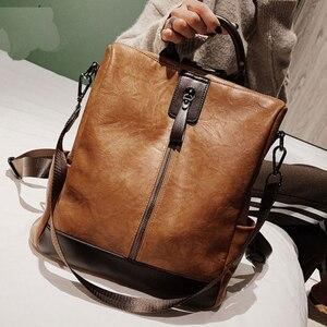Image 1 - Moda kadınlar yüksek kaliteli deri sırt çantası çok fonksiyonlu deri sırt çantaları büyük sırt çantası seyahat çantaları okul çantaları genç kız için