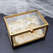 Personalized Wedding Ring Box,Engagement Ring Box,Gold Glass Ring Box, Custom Glass Ring Holder,Engraved Names Date