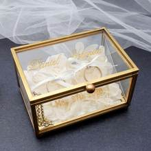 Caixa de anel de casamento personalizada, caixa de anel de noivado, caixa de anel de vidro de ouro, suporte de anel de vidro personalizado, data de nomes gravados