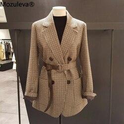 Женский пиджак с поясом Mozuleva, повседневный двубортный пиджак в Корейском стиле, 2020