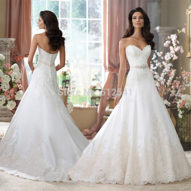 Custom Made Wedding Dress 2019 Vestido De Noiva A Line Sweetheart Appliques Beads Sash Satin Sweep Train Bridal Gown