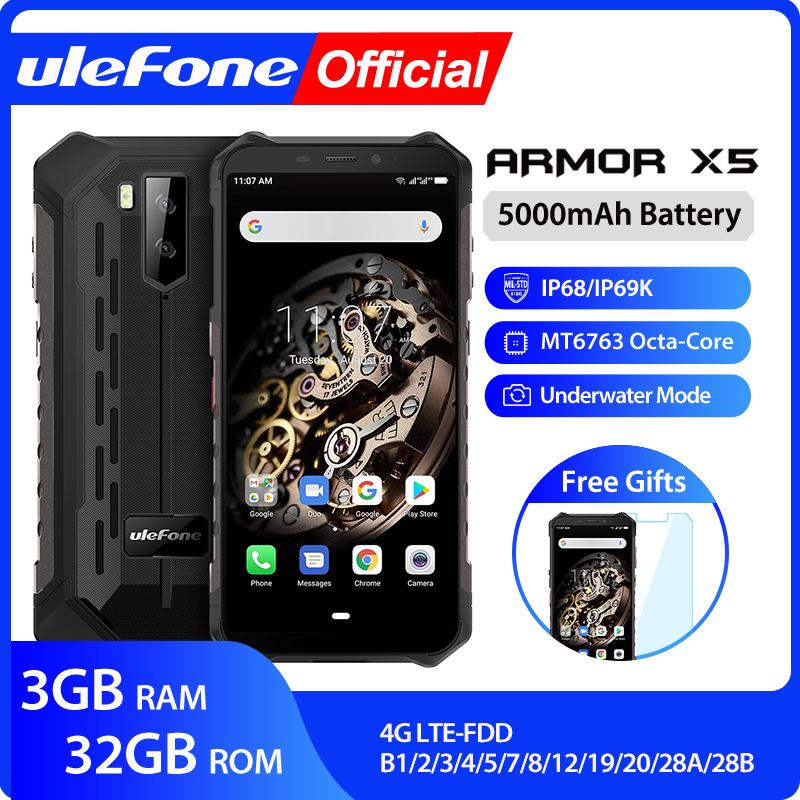 Ulefone Armor X5 MT6763 Octa core ip68 Rugged Waterproof Smartphone Android 9.0 Cell Phone 3GB 32GB NFC 4G LTE Mobile Phone