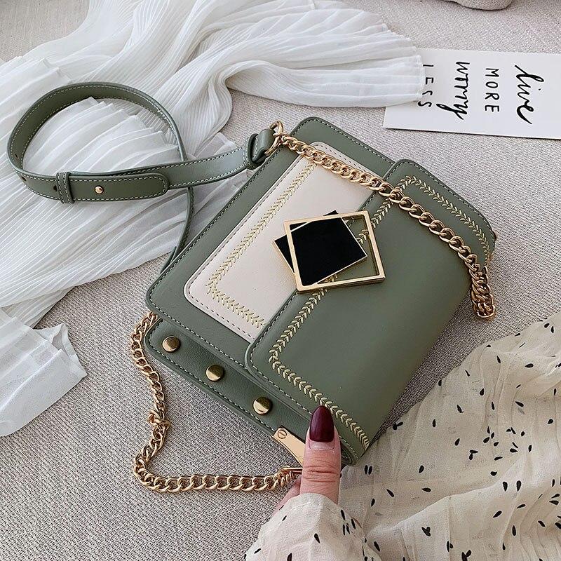 Женские кожаные сумки через плечо с цепочкой в Корейском стиле, маленькая сумка мессенджер на плечо, специальный дизайн с замком, женские дорожные сумки, 2019|Сумки с ручками|   | АлиЭкспресс