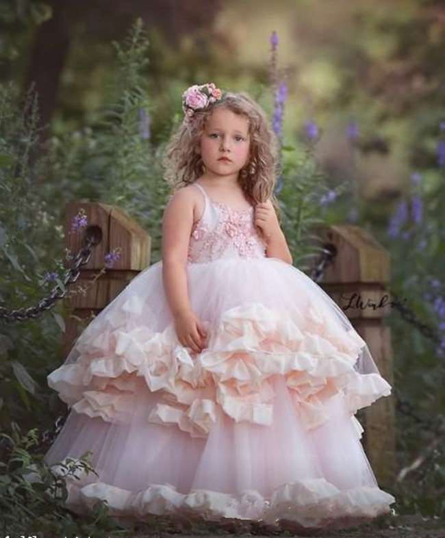 Lovely Baby Birthday Party Gowns with Ryffles Backless Custom Made   Flower     Girl     Dress   For Special Occasion Cheap Price Vestidos