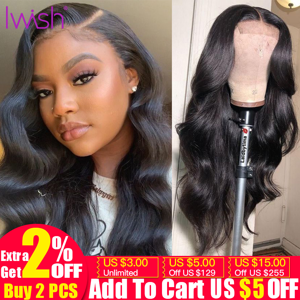 Iwish 4x4 Lace Closure Wig Brazilian Remy Hair Body Wave Wig Pre Plucked With Baby Hair Glueless Human Hair Wigs For Black Women