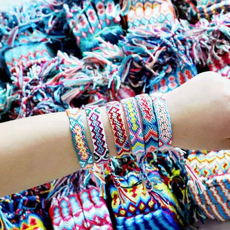 ボヘミアン手ニットブレスレット女性の男性のためネパール国民虹色フリンジロープウィービングラッキー友情ブレスレット