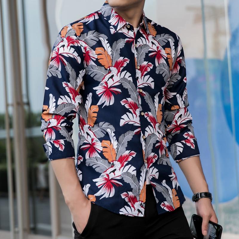 2020 Men Hawaiian Shirt Long Sleeve Floral Print Mens Dress Formal Shirts Camisa Social Masculina Casual Slim Fit Tops Shirt