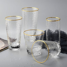 430ml Glass Mug Creative Coffee Mug Tea Beer Drinking Glasses Cup Tumbler Transparent Gold-rimmed Whiskey Wine Glasses Drinkware