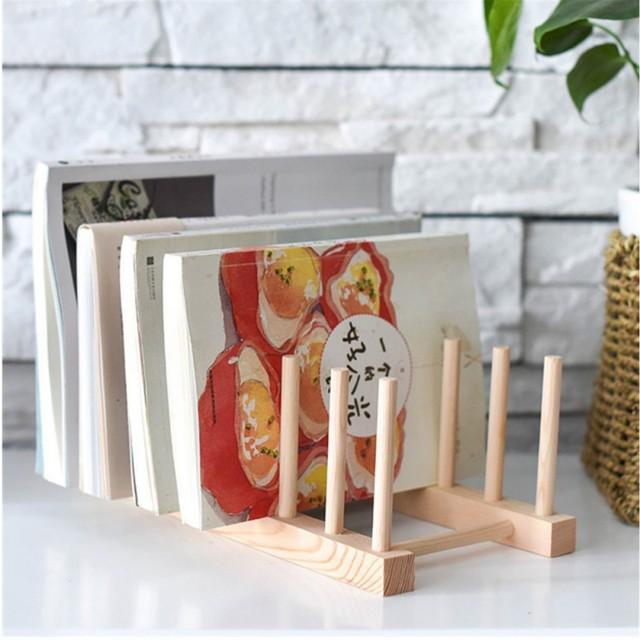 Kitchen Dish Drain Rack Dinnerware Storage Organizer Tray Plate Drying Shelf Wooden Book Cups Display Stand Drainer Holder 2