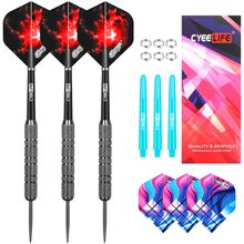 CyeeLife Steel tip darts 20/22/28g With Metal Spring O Rings+6 PVC Shafts+6 Extra Flights,3PCS Home Dart Set for Beginners