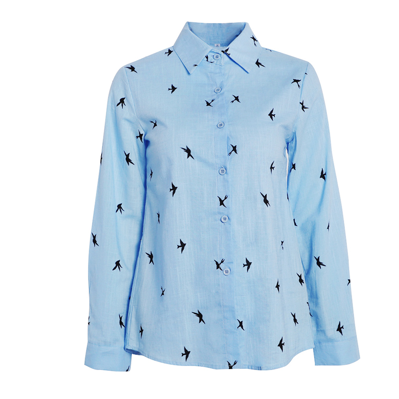 H06d24d3e60494f77aa873b48f76d334eZ - Women's Birds Print Shirts 35% Cotton Long Sleeve Female Tops Spring Summer Loose Casual Office Ladies Shirt Plus Size 5XL