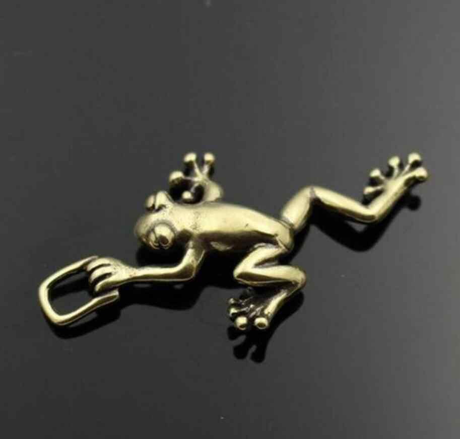 Statua di rame In Ottone Cinese Intagliare Frog Prince Appeso Cartone Animato Ganci FAI DA TE Bagagli e Accessori Fibbia Chiave Del Pendente Animale Statu