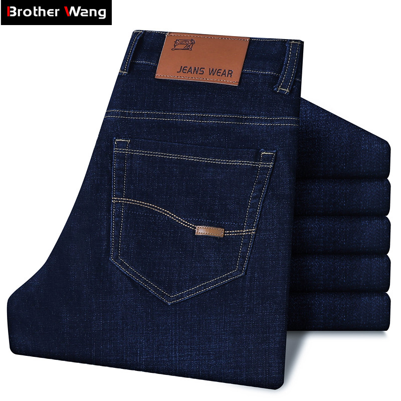 Large Size 40 42 44 Classic Style Men's Business Jeans 2019 New Fashion Small Straight Stretch Denim Trousers Male Brand Pants