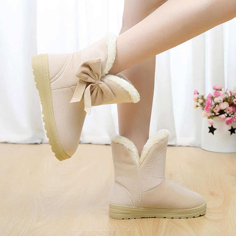 2019 kadın kar botları kış kürk yarım çizmeler kadın papyon isıtıcı peluş süet kauçuk düz kayma moda platformu bayan ayakkabıları