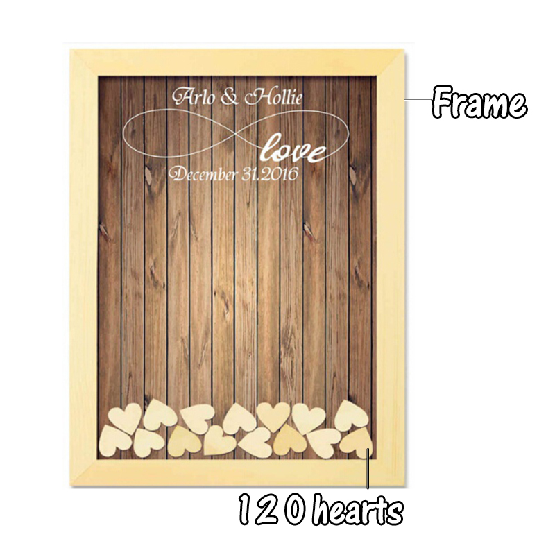 Wedding Guest Book Wedding Decoration Rustic Sweet Wedding Guestbook 120pcs Small Wood Hearts