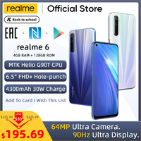 realme 6 Global Version 4GB RAM 128GB ROM Mobile Phone 90Hz Display Helio G90T 30W Flash Charge 4300mAh 64MP Camera Cellphone