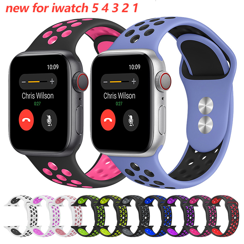 Soft Silicone Replacement Wristband For Apple Watch 42mm Band 44mm Breathable Iwatch Series 5 4 3 2 1 42mm Watchband 38mm Strap