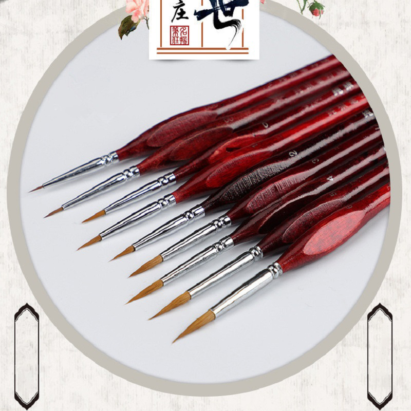 7Pcs Professional Sable Hair Paint Brush Set - Miniature Art Brushes For Drawing Gouache Oil Painting Brush Art Supplies