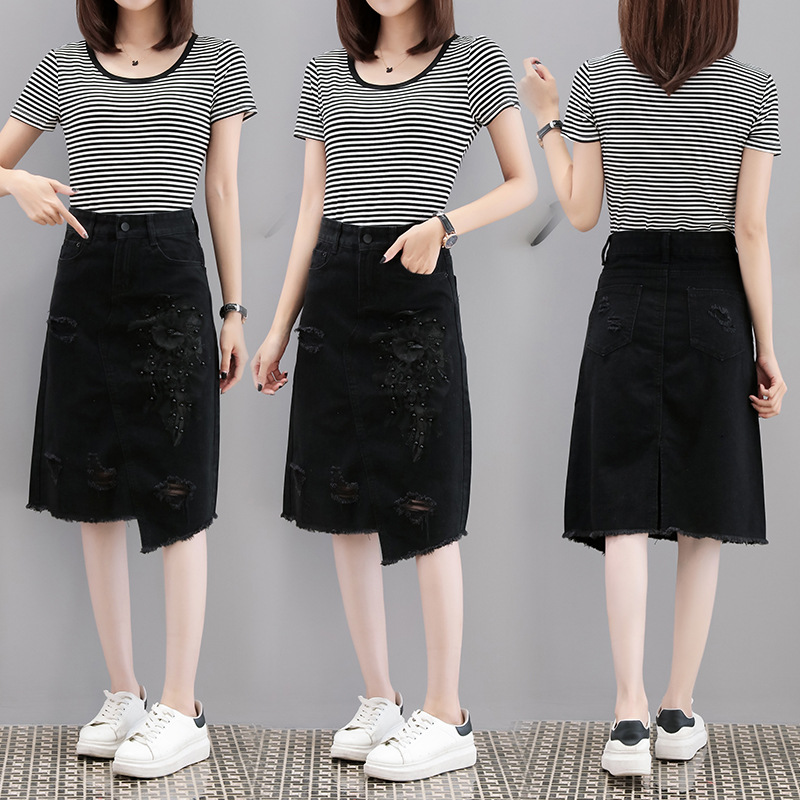 Ozhouzhan Denim Skirt Two-Piece Set Embroidered Denim Skirt Stripes T-shirt Medium-length Denim Skirt WOMEN'S Suit