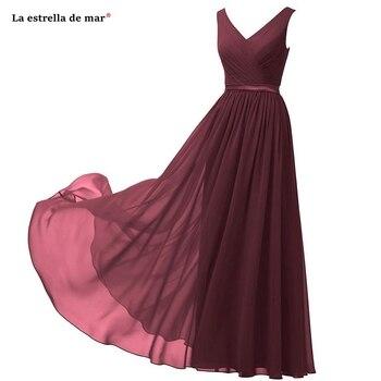 Vestido madrinha hot chiffon sexy V neck A Line royal blue navy burgundy mint green turquoise purple bridesmaid dress long
