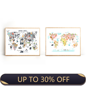 Wall Artwork Home Decoration Hd Print Nordic Style Animal World Map Modular Picture Posters Canvas Painting Children Bedroom