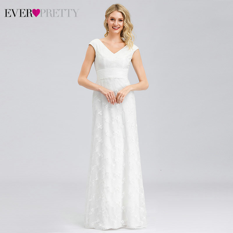 Custom White Wedding Dresses Ever Pretty EP00865WH A-Line Lace Double V-Neck Sleeveless Tulle Illusion Bride Gowns Suknia Slubna