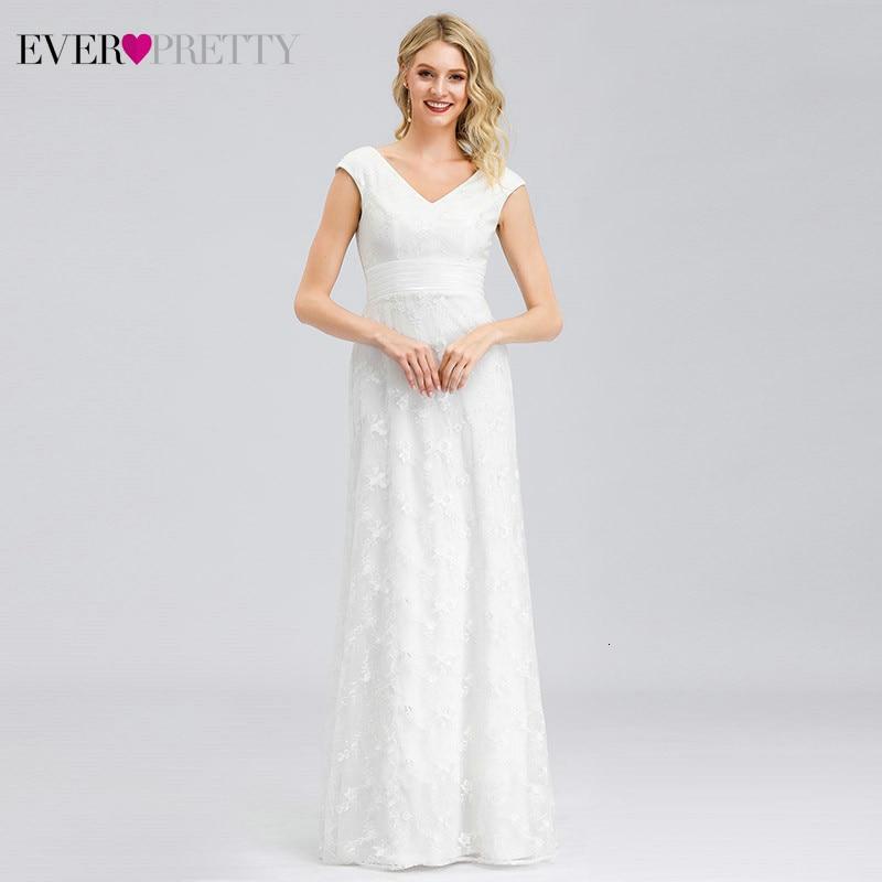 Custom White Wedding Dresses Ever Pretty EP00865WH A-Line Lace Double V-Neck Sleeveless Tulle Illusion Bride Gowns Suknia Slubna