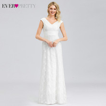 Elegant Wit Kant Trouwjurk Ever Pretty EP00865WH Lovertjes Dubbele V-hals Illusion Mermaid Jurken Bride Vestidos De Novia(China)