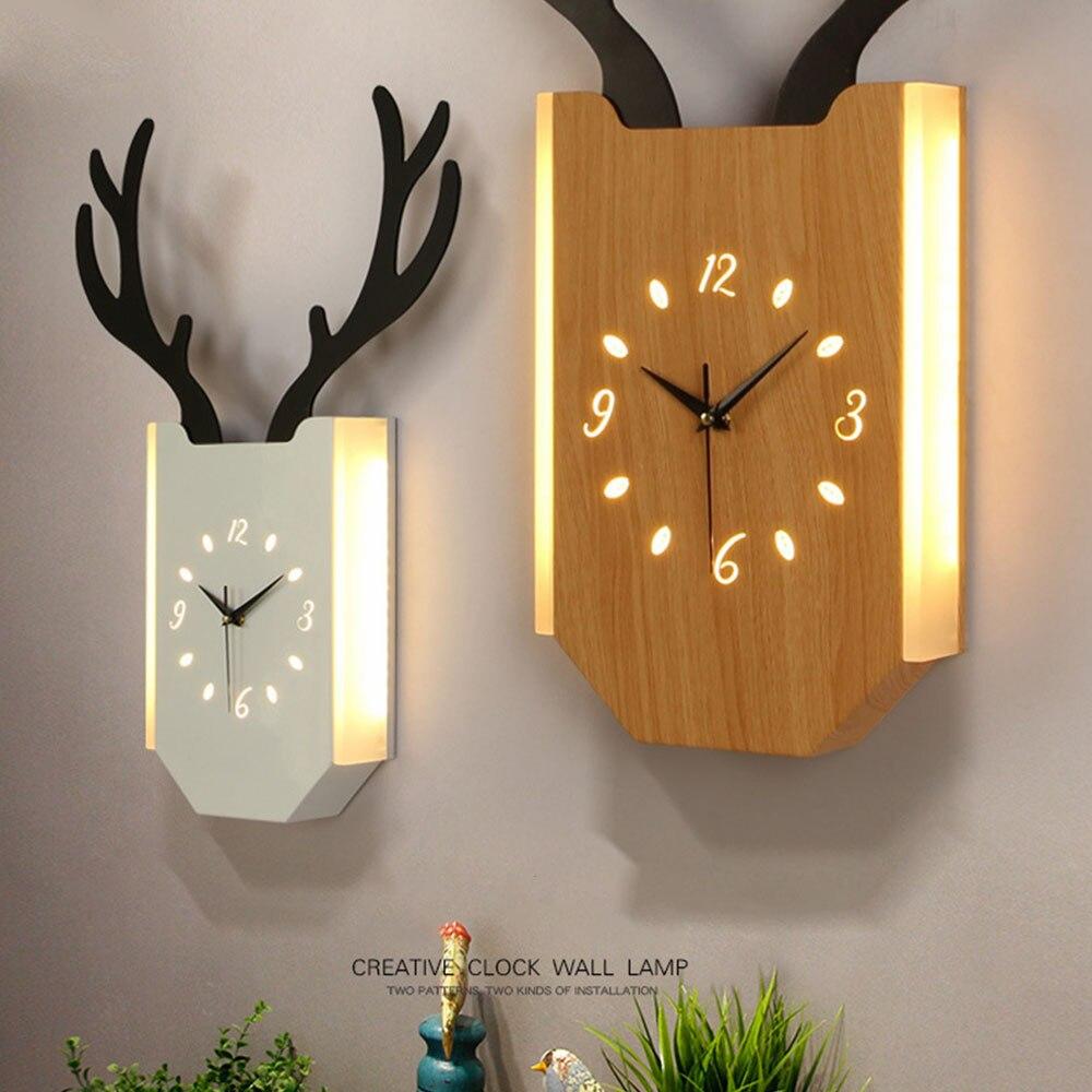 18 Вт скандинавские рога настенные часы лампа Современная гостиная прикроватные часы для спальни настенный светильник Внутреннее освещени... - 6