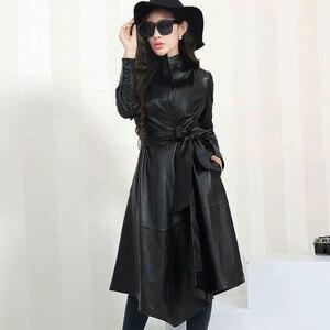 Длинные кожаные пальто для женщин, модные тонкие Куртки из искусственной кожи, женские элегантные пальто с поясом и пуговицами на талии, жен...