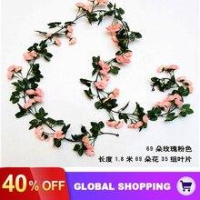 Vine Wedding-Decor Hanging-Flowers Rose Artificial-Silk for Fake-Plants Leaves Garland