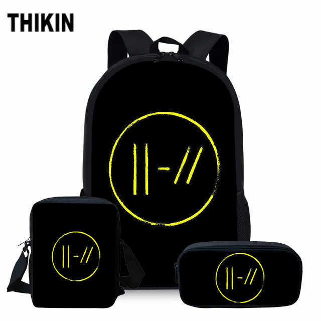 ThiKin Twenty One Pilots School Bag Set for Girls Boys Hip Hop Fans Fashion Backpack Teenager Personalized Book Bags 3 Pcs